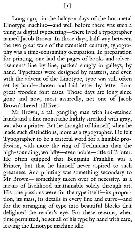 The Typographer's left shoe text example